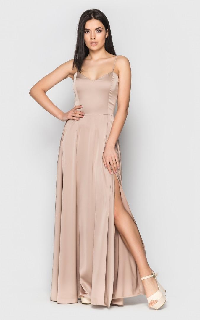 Длинное шелковое платье (бежевое)