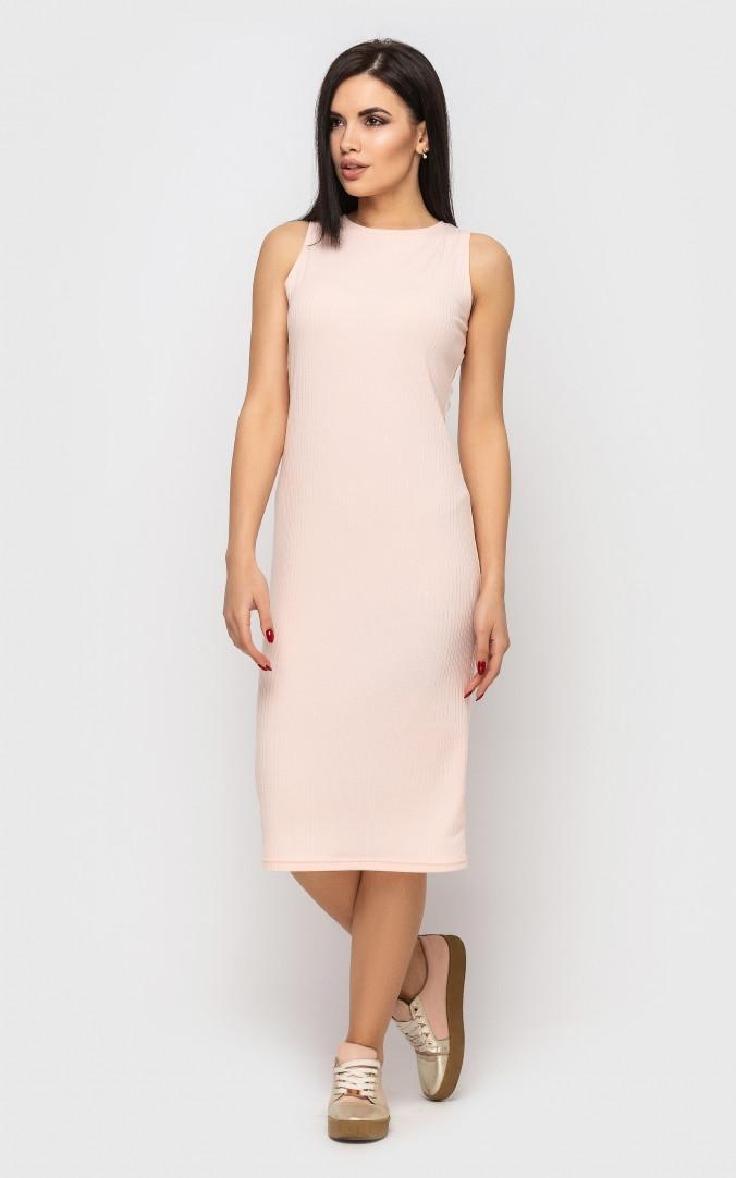 Повседневное платье-майка (персиковое)