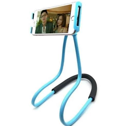 Держатель для телефона на шею 360 градусов вращения гибкий селфи СИНИЙ