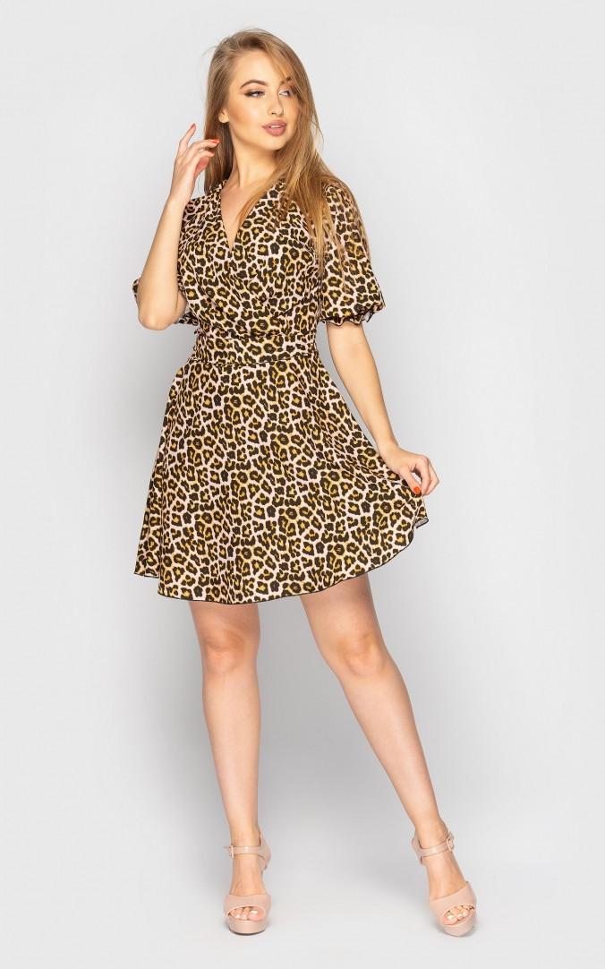 Платье-мини с хищным принтом (коричневое)