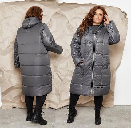 """Женское тёплое пальто в батальных размерах 1305 """"Плащёвка Шеврон"""" в расцветках"""