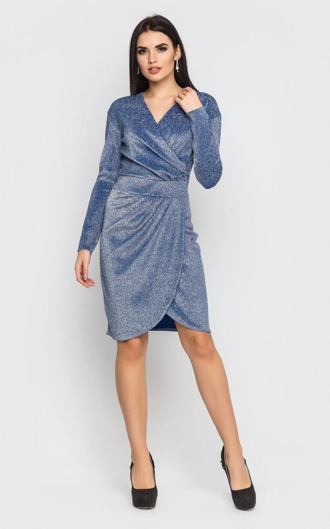 Розкішне коротке плаття-міні (блакитне)