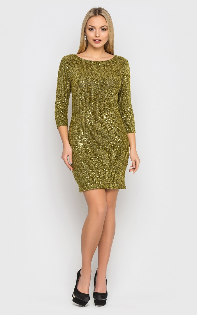 Нарядное платье-мини (золотое)