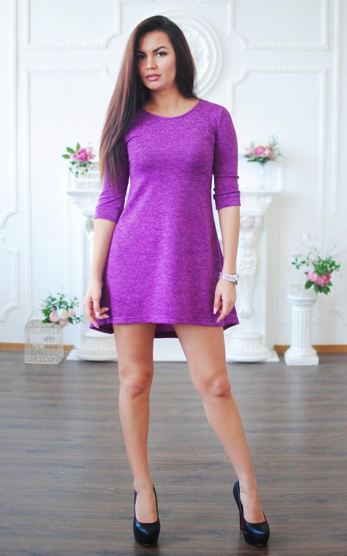 Ангоровое платье с асимметричным низом