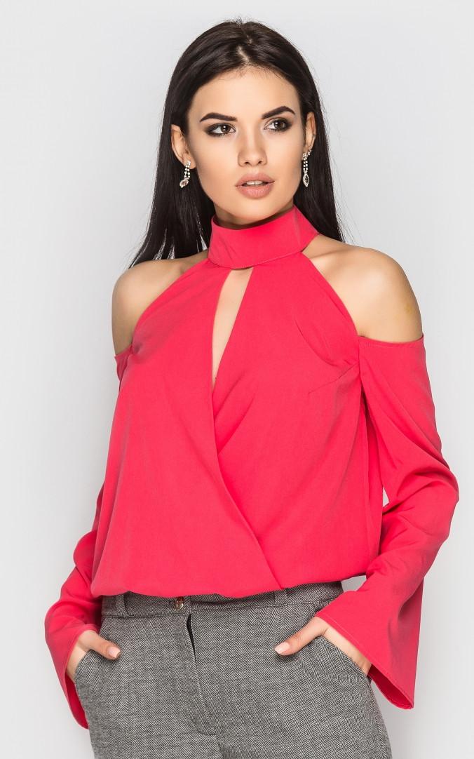 Блуза с открытыми плечами (коралловая)