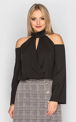 Блуза с открытыми плечами (черная)