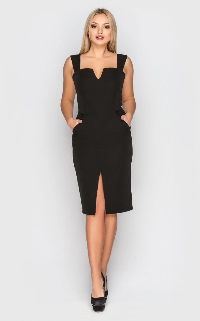 Элегантное платье-футляр (черное)