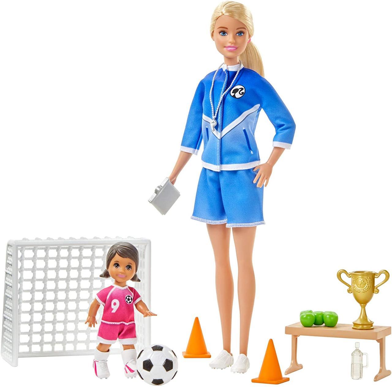 Игровой набор Барби тренер по футболу блондинка