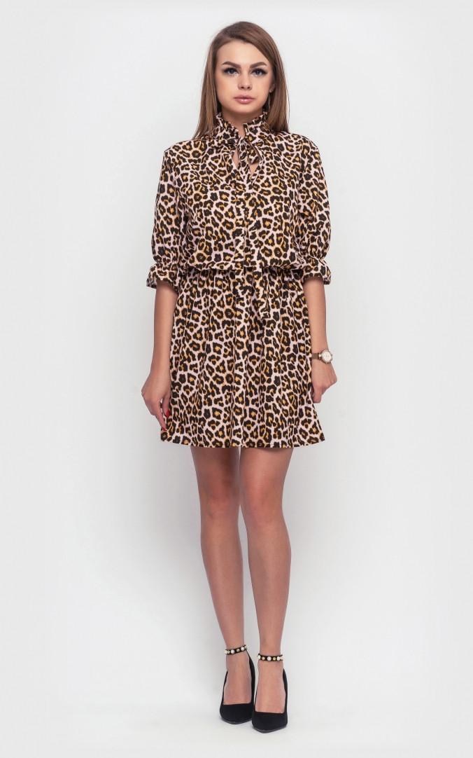 Леопардове плаття-міні (коричневе)