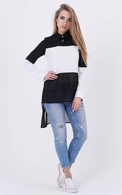 Удлиненная комбинированная блузка (черный)