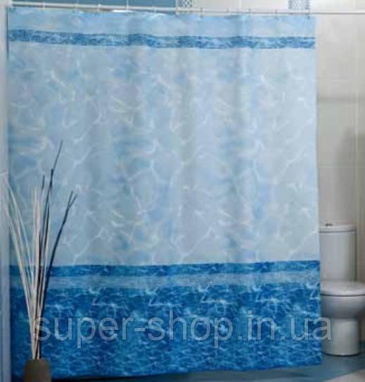 """Шторка для ванной комнаты """"Миранда"""" 180х200 см тканевая голубая"""