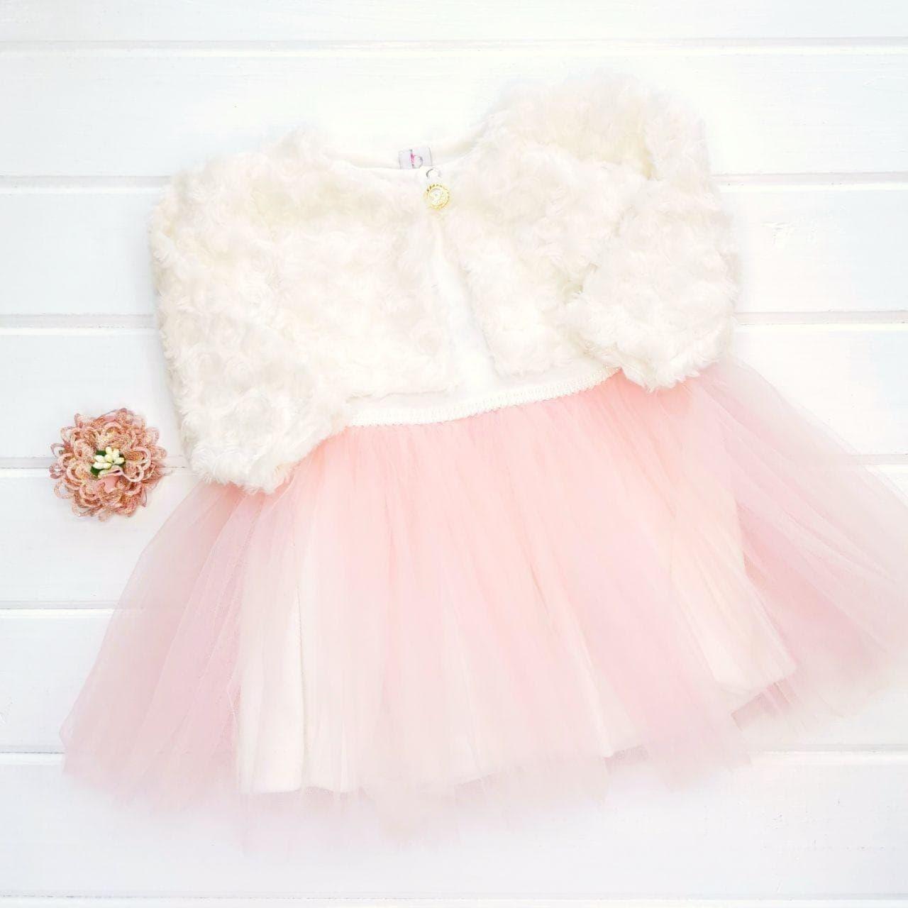 """Нарядное платье с фатиновой юбкой и с болеро """"Розовая зефирка"""" 9м"""