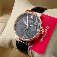 Кварцевые женские оригинальные наручные часы Bolun А282 на кожаном ремешке со стразами черного цвета золото