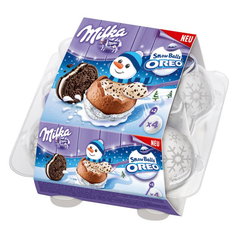 Milka Snowballs Oreo шоколадные шарики (снежки) с начинкой 4 шт, 112 грамм