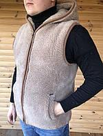 Безрукавка из овечьей шерсти с капюшоном (46-58р.) Унисекс