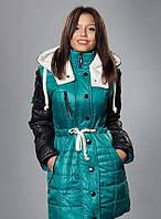 Зимняя женская молодежная куртка - парка, бирюза