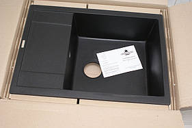 Мийка гранітна кухонна+сиффон Granado Linares 675x495 Black Shinne