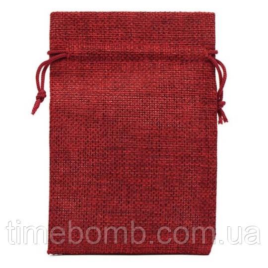 Подарочный мешочек джутовый 10 x 14 см красный