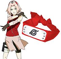 Красная Повязка из аниме Наруто с символикой Деревни Скрытой В Листве | Косплей Сакуры Харуно | Naruto