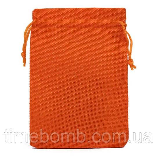 Подарочный мешочек джутовый 10 x 14 см Оранжевый