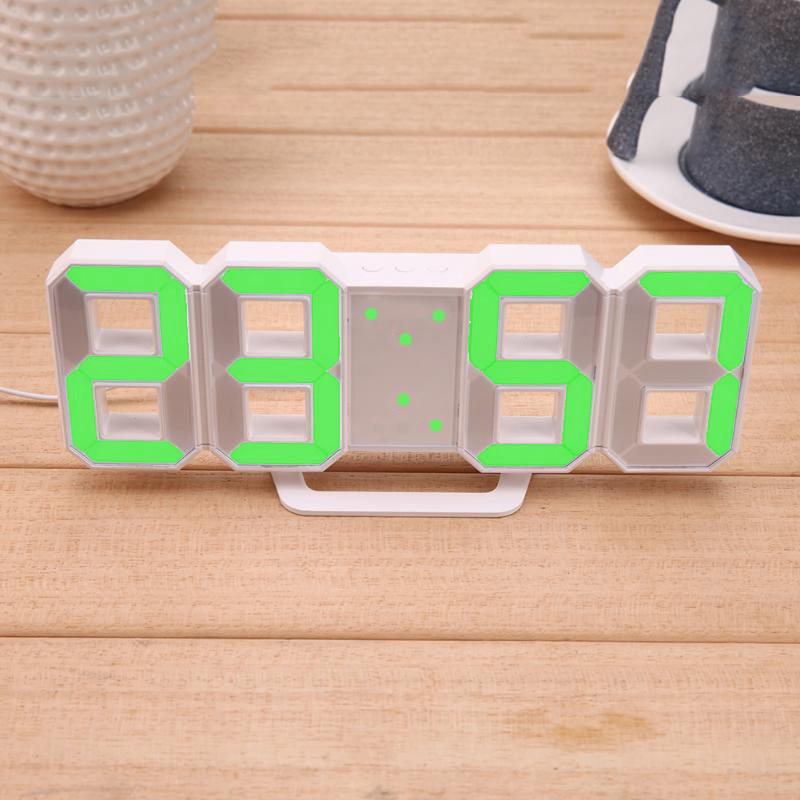 Электронные настольные LED часы с будильником и термометром LY-1089 White (зеленая подсветка) (6801)