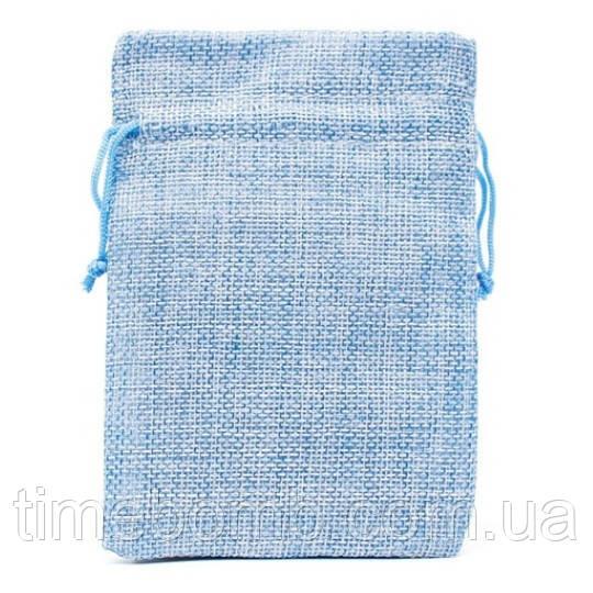 Подарочный мешочек джутовый 10 x 14 см голубой
