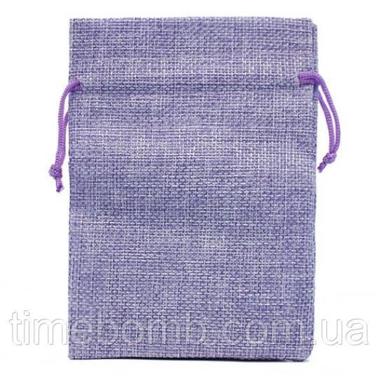 Подарочный мешочек джутовый 10 x 14 см фиолетовый