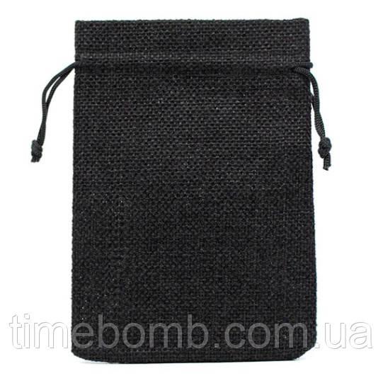 Подарочный мешочек джутовый 10 x 14 см черный