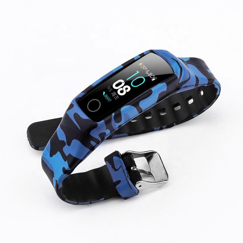 Силиконовый цветной ремешок на фитнес трекер Honor band 4 и Band 5. защитный синий