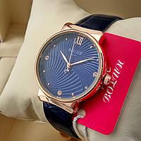 Кварцевые женские оригинальные наручные часы Bolun А282 на кожаном ремешке со стразами синего цвета золото