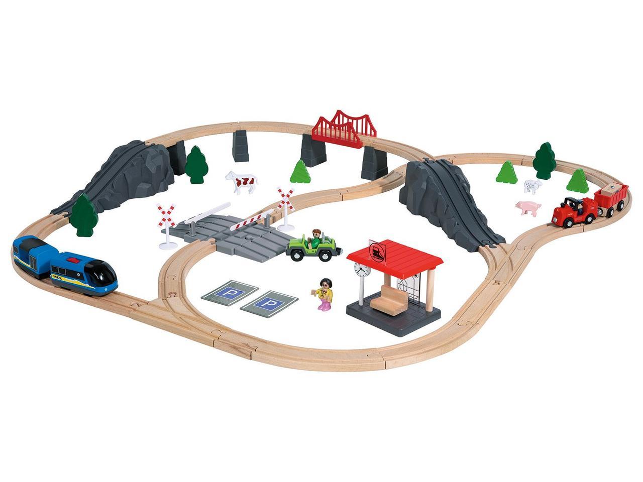 Дерев'яна залізниця PlayTive Junior 72 деталі Німеччина