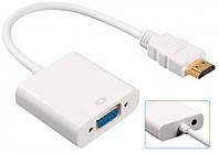 Адаптер конвертер видео + аудио HDMI - VGA Dellta 1080P White (2421), фото 1