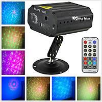 Лазерный проектор с датчиком звука и стробоскопом EMS083 с пультом от сети 220В Black (6738), фото 1