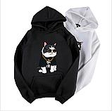 """Черная толстовка """"крутой кот"""", свитшот, яркая кофта с котом, фото 3"""