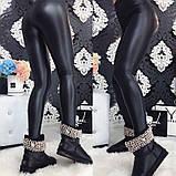 Женские кожаные лосины Черные, фото 4