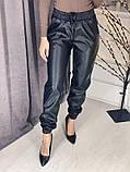 Женские кожаные джоггеры Черные, фото 6