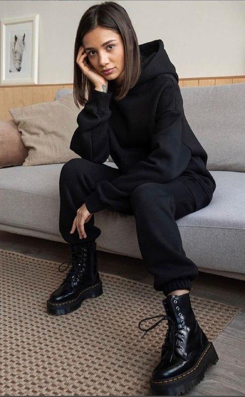 Женский теплый спортивный костюм/комплект Черный