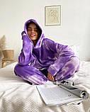 Женский теплый спортивный костюм/комплект с эффектом тай-дай Фиолетовый, фото 2