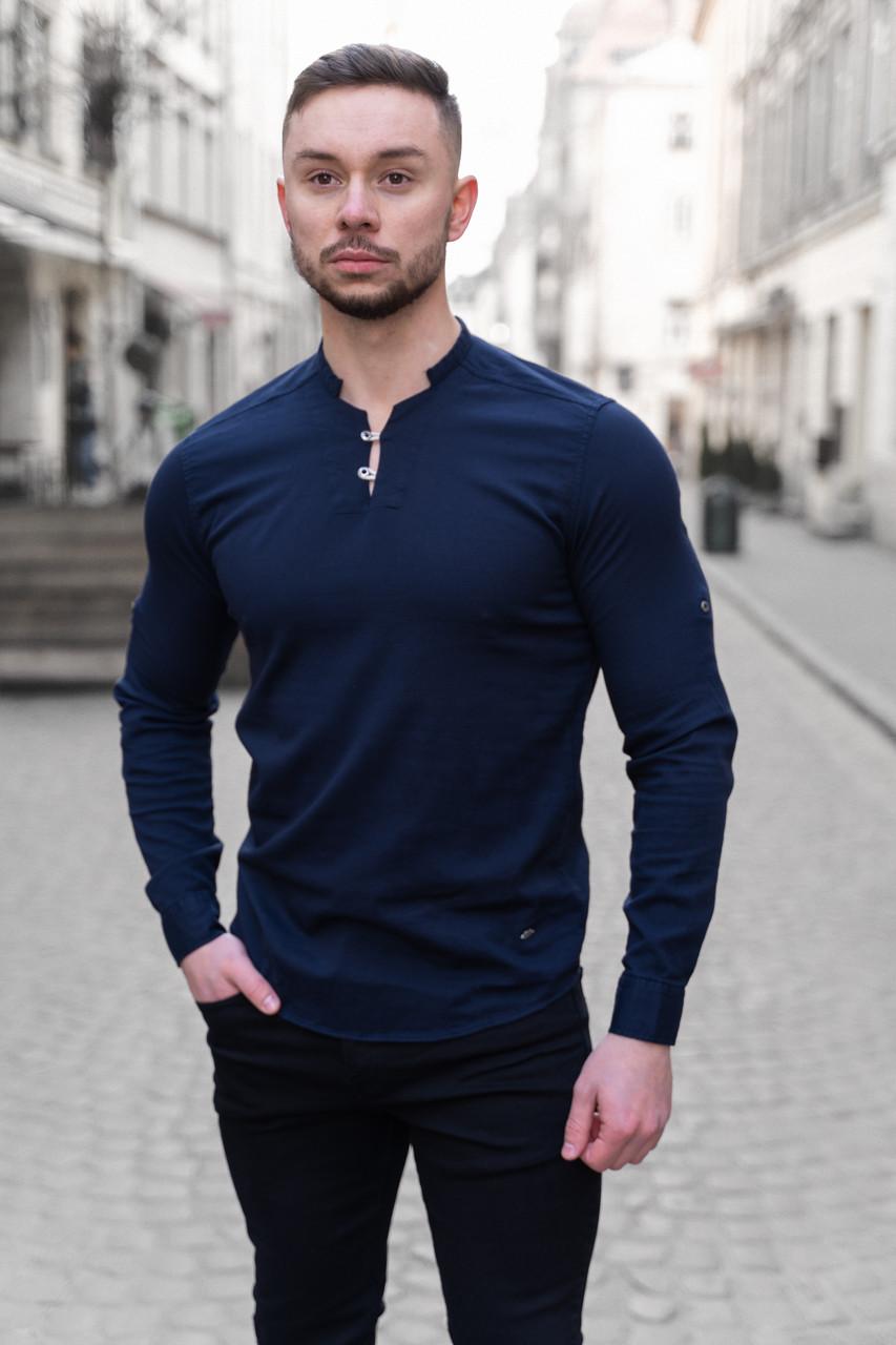 Мужская Рубашка лонгслив оливковая / 4 цвета Синий