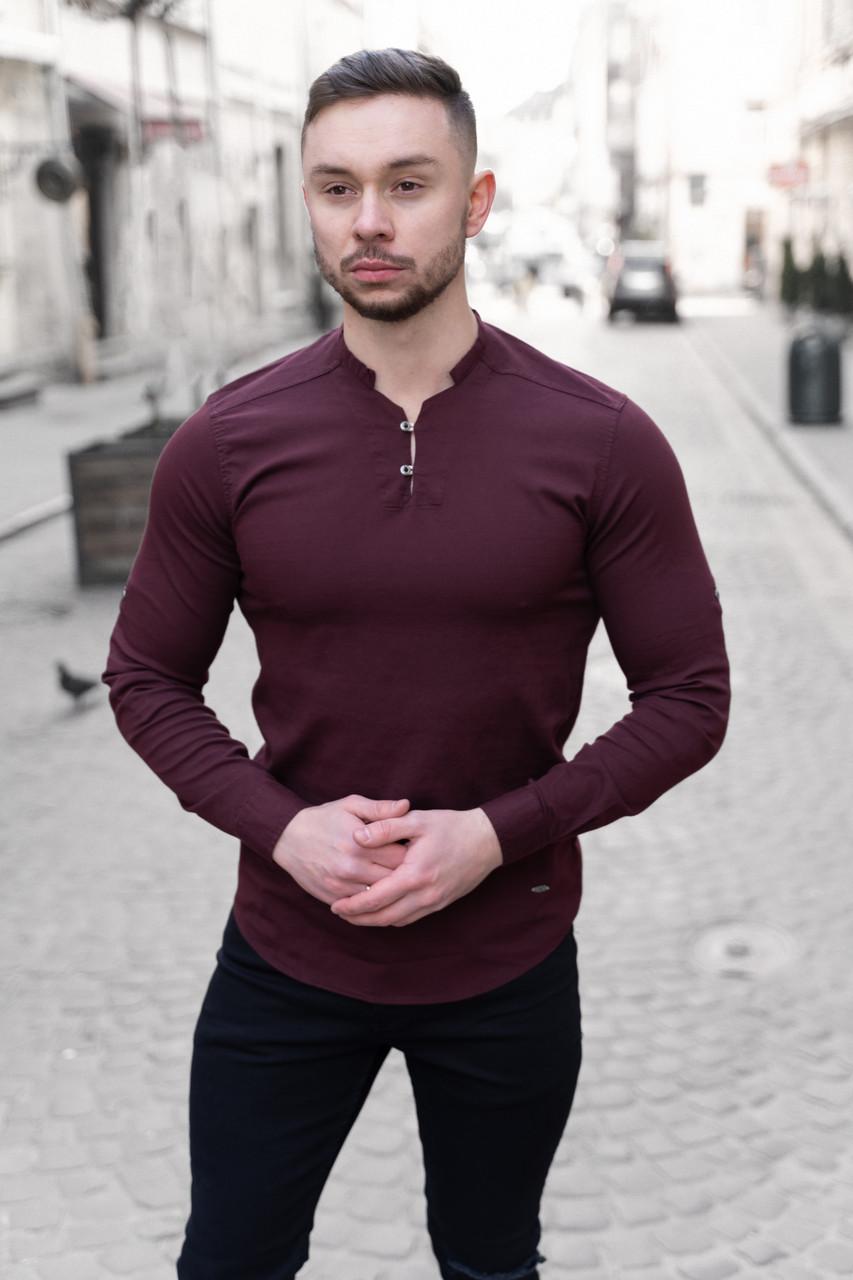 Мужская рубашка лонгслив белая / 4 цвета Вишневый