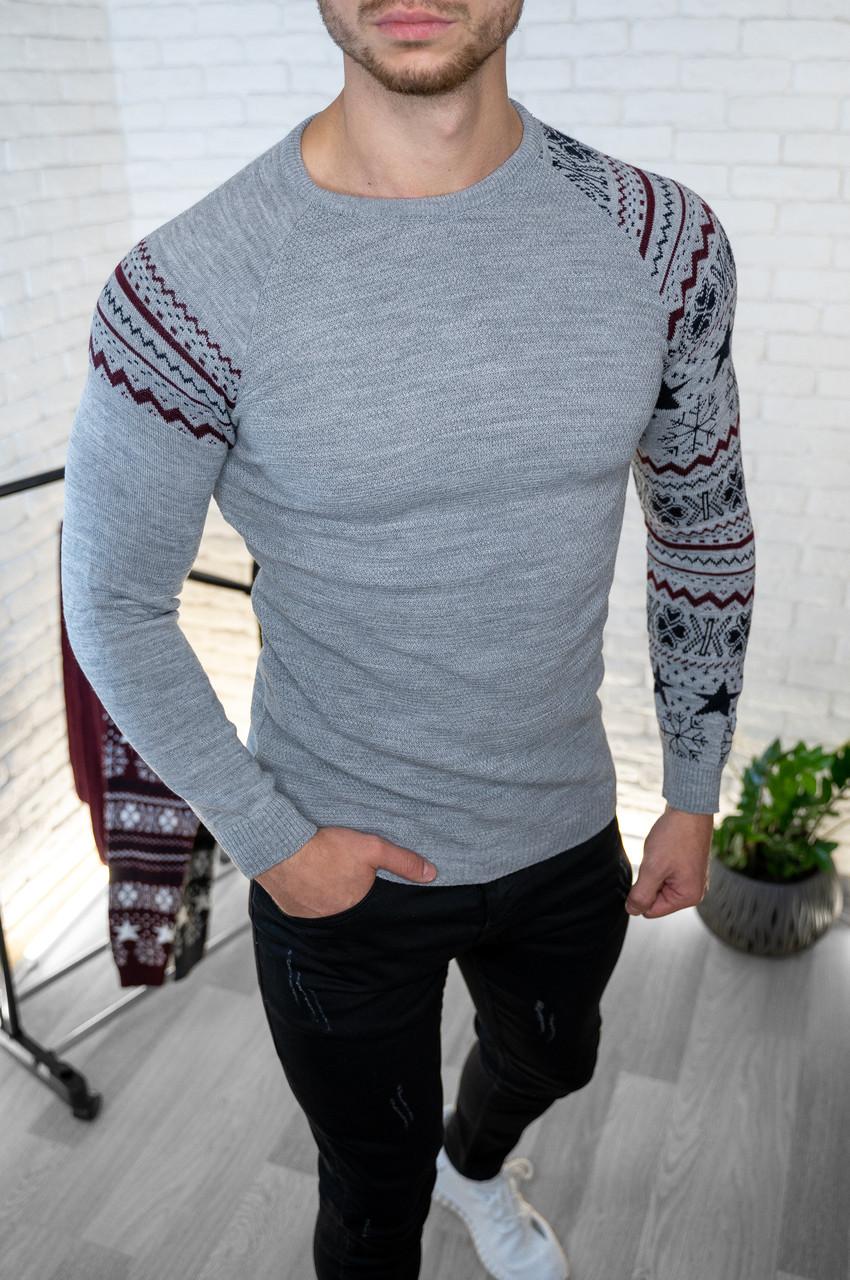 Мужской джемпер темно-серый с рисунком / Турция Серый, XL