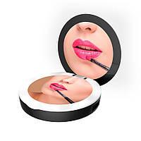 Карманное зеркало для макияжа с LED подсветкой SUNROZ DC113 Pocket Mirror Power Bank Черный (6400)