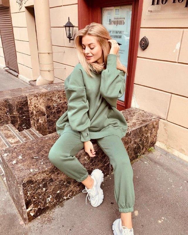 Женский теплый спортивный костюм/комплект Зеленый