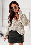 Женский базовый свитер с V-образным вырезом Бежевый, фото 2