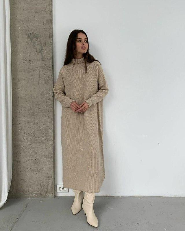 Теплое женское платье Бежевое