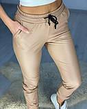 Женские кожаные джоггеры Бежевые, фото 2
