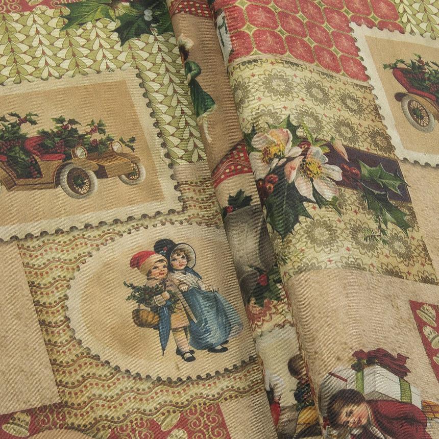 Декоративная новогодняя ткань Рождественские открытки
