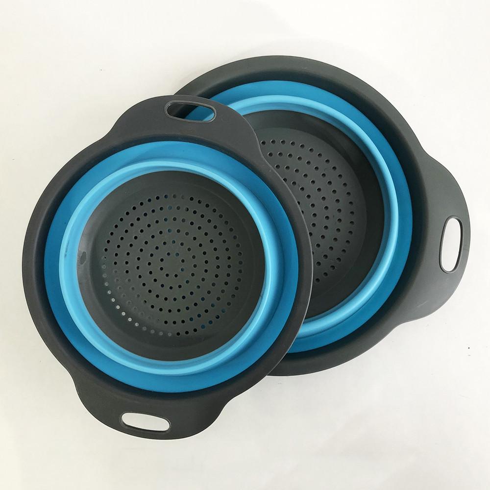 Дуршлаг складной COLLAPSIBLE FILTER BASKETS (силиконовый). Цвет: голубой