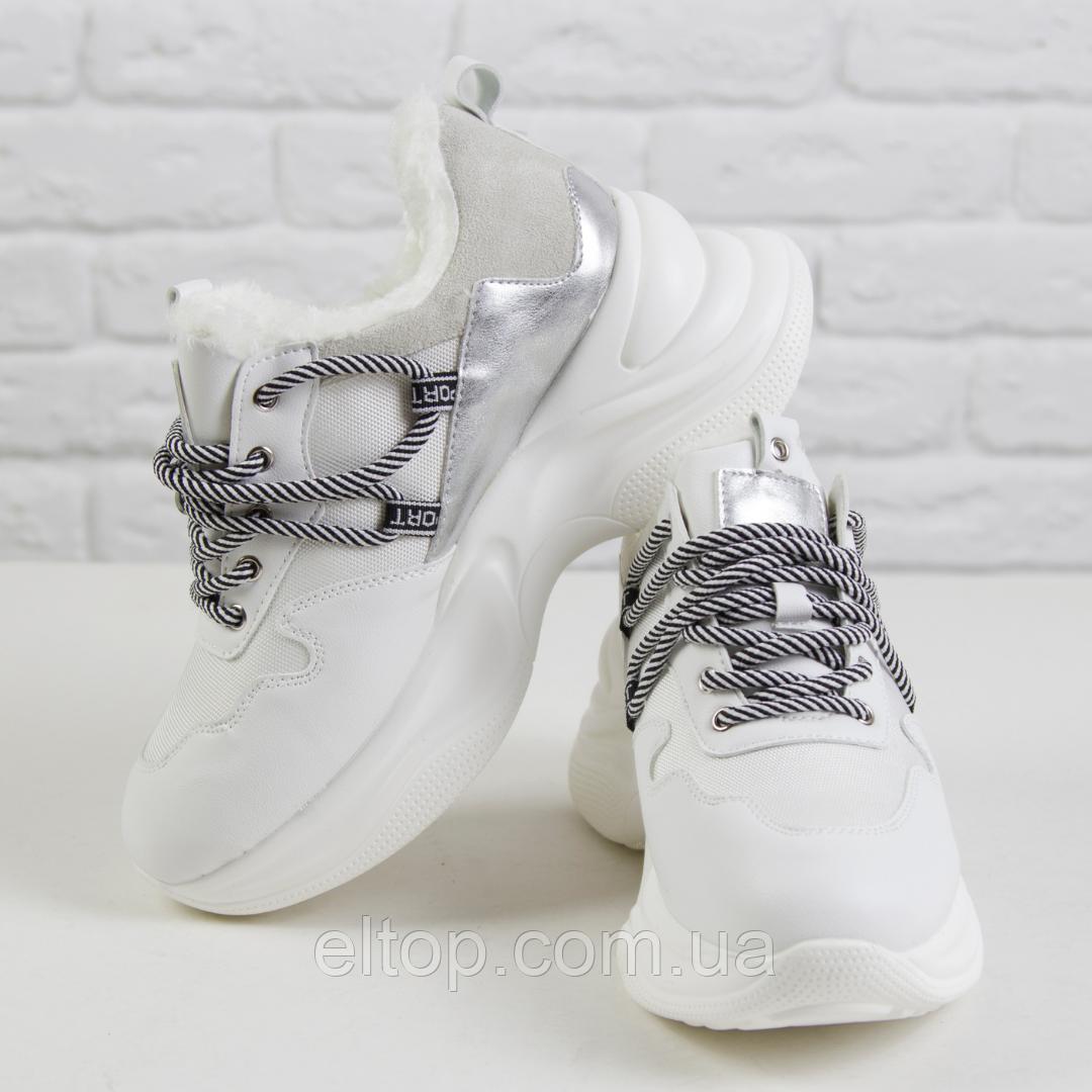 Стильные зимние женские кроссовки на платформе белые STILLI размер 36 - 40