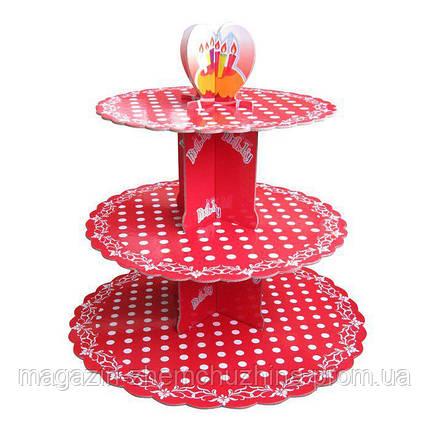 SALE! Стенд трёхъярусный картонный круглый для капкейков красного цвета с горошком (шт), фото 2